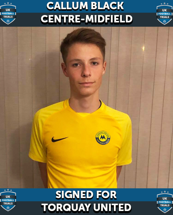 Callum Black - Aged 14 - SIGNED for Torquay United