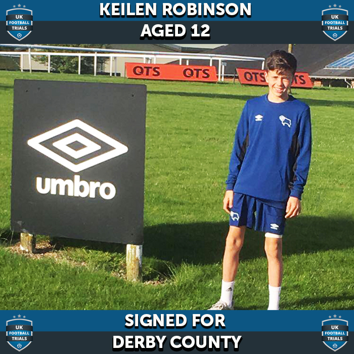 Uk Football Trials Keilen Robinson Aged 12 Signed For Derby County Uk Football Trails