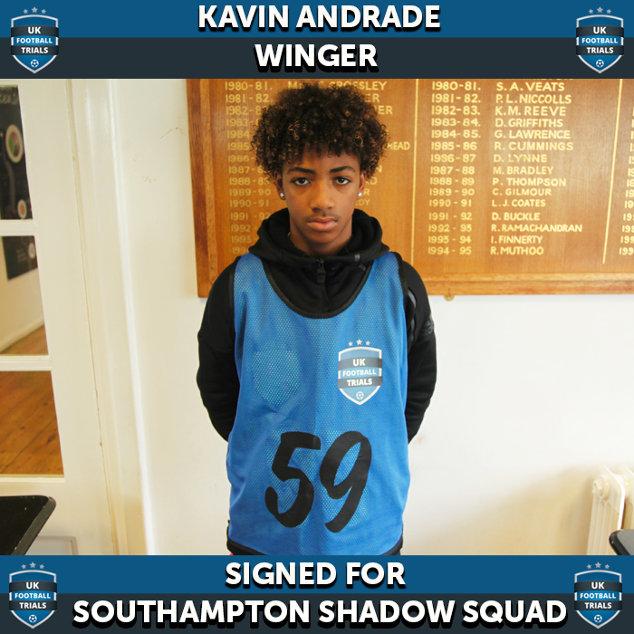 Kevin Andrade - Aged 14 - Signed for Southampton Shadow Squad